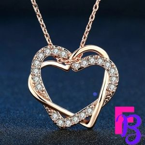 18k Rose Gold Heart to Heart CZ Necklace